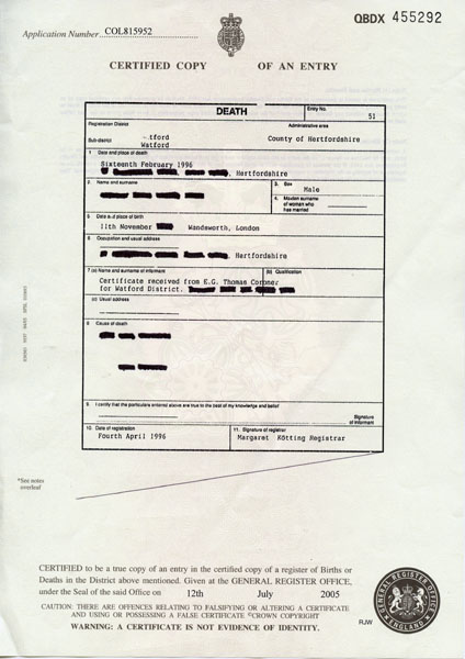 Uk death certificate - General register office birth certificate ...